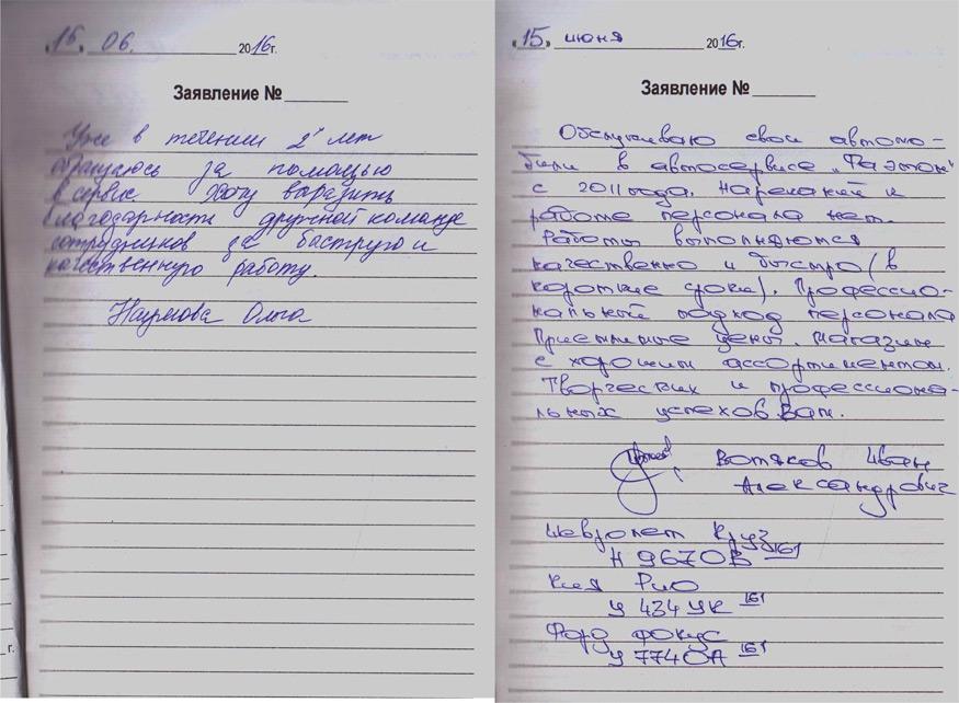 ФАЭТОН ФОРД СЕРВИС - Книга отзывов